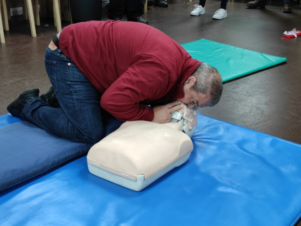 Oxygen Administration Training Course - Image of course student performing Basic Life Support Rescue Breaths on a Resusci Annie dummy.