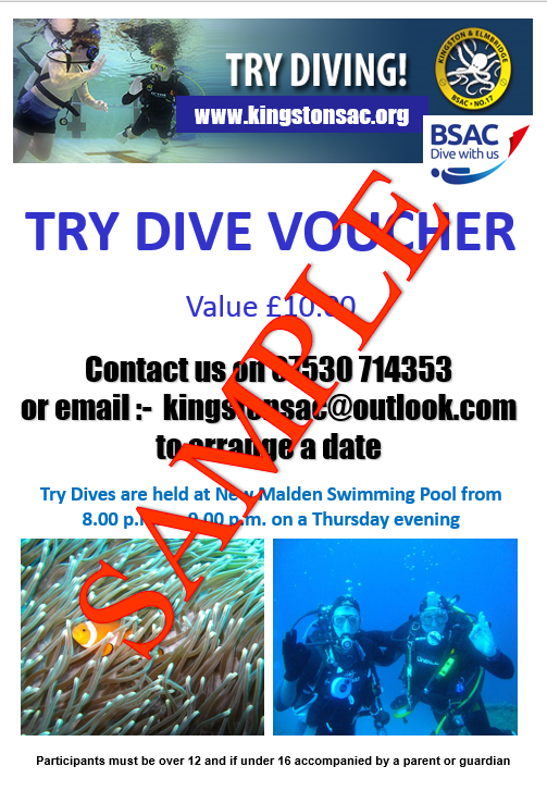 Free Try Dive Vouchers Available